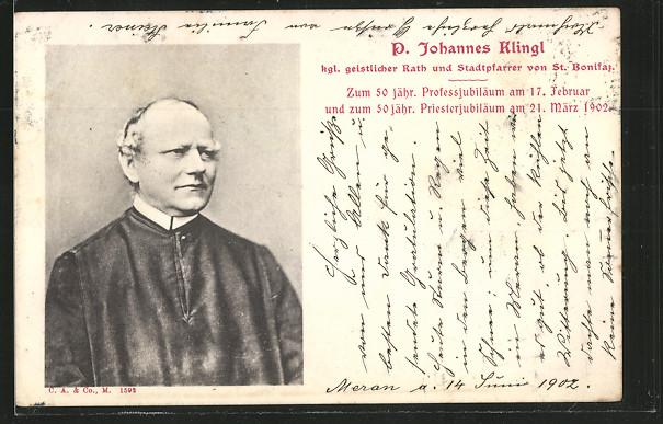 AK St. Bonifaz, Porträt von kgl. geistlichem Rath und Stadtpfarrer Johannes Klingl 0