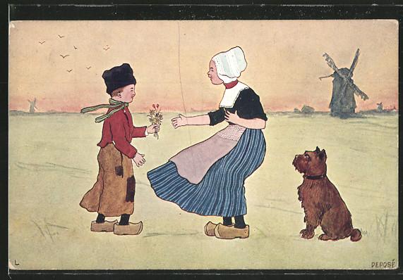 Künstler-AK Brüder Kohn (B.K.W.I) Nr. 840-7: Junge schenkt einem Mädchen in Tracht Blumen, Hund 0