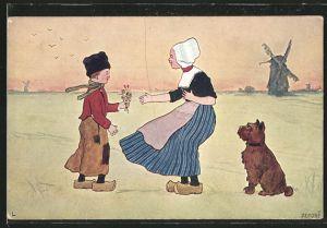 Künstler-AK Brüder Kohn (B.K.W.I) Nr. 840-7: Junge schenkt einem Mädchen in Tracht Blumen, Hund