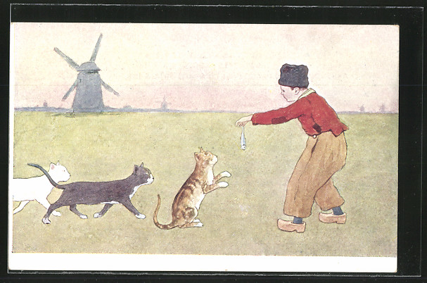 Künstler-AK Brüder Kohn (B.K.W.I) Nr. 648-6: Niederländischer Junge hält drei Katzen einen Fisch hin, Windmühle 0