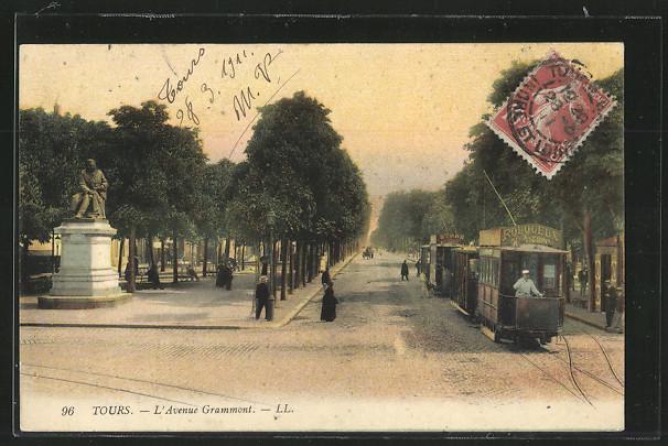 AK Tours, L\'Avenue Grammont, mit Strassenbahn 0