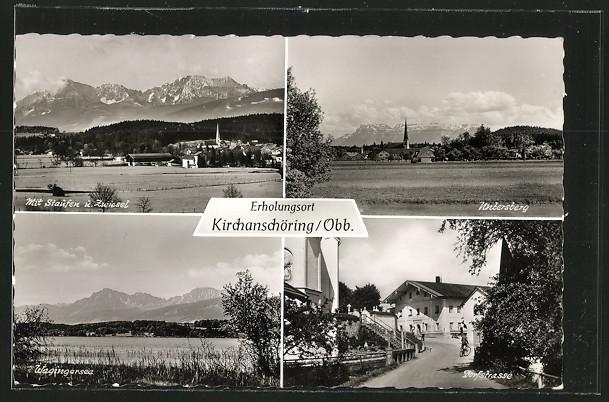 AK Kirchanschöring, Dorfstrasse, Untersberg und Wagingersee 0