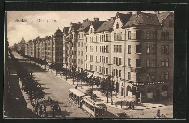 AK Stockholm, Odengatan mit Strassenbahn 0