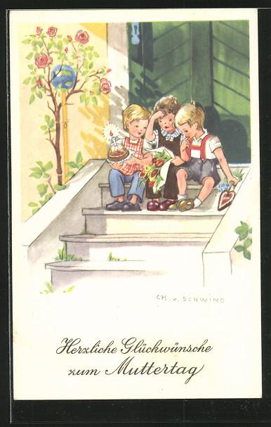 Künstler-AK Kinder sitzen mit Kuchen, Blumenstrauss und Lebkuchenherz auf der Treppe vor einer Tür, Muttertag 0