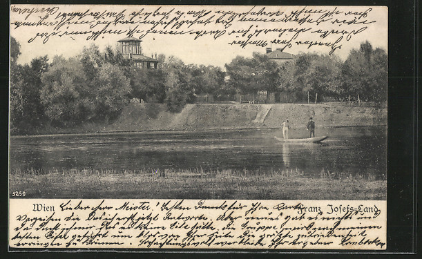AK Wien, Franz Josefs-Land, Flusspartie mit Boot 0