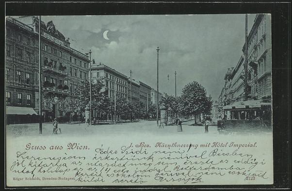 Mondschein-AK Wien, Kärnthnerring mit Hotel Imperial, Strassenbahn 0