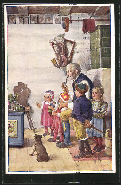 AK Pfeiferauchender Grossvater mit seinen Enkelkindern und Hund in der Wohnküche 0