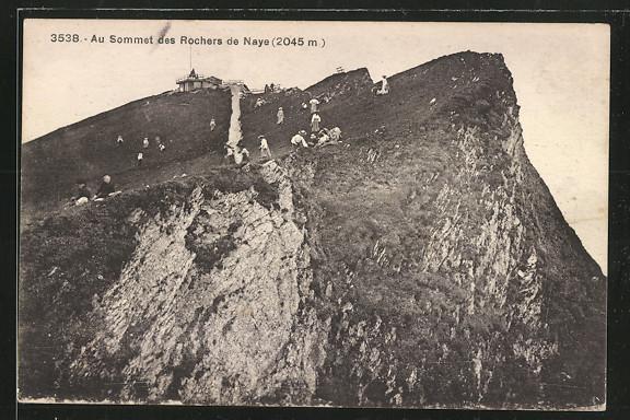 AK Rocher de Naye, Bergspitze mit Berghütte 0