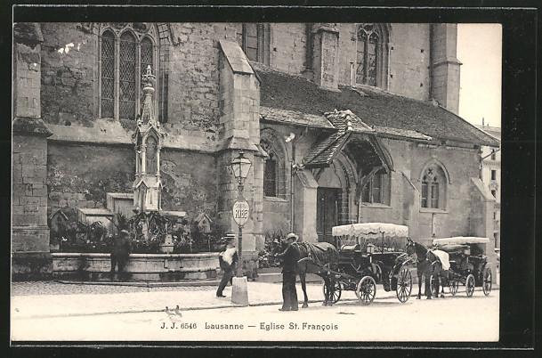 AK Lausanne, Eglise St. Francois, Strassenansicht mit Pferdedroschken