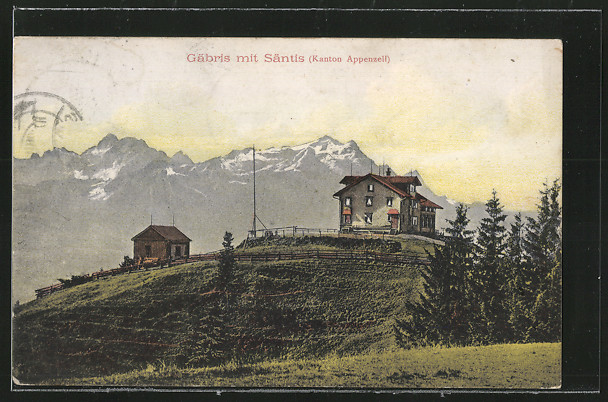 AK Gais, Gäbris mit Säntis mit Berghütten