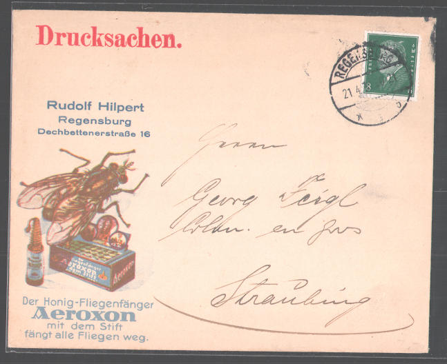 Dekorativer Brief Regensburg, Aeroxon Honig Fliegenfänger Fabrik, Rudolf Hilpert, Dechbettenerstr. 16, Stubenfliege  0