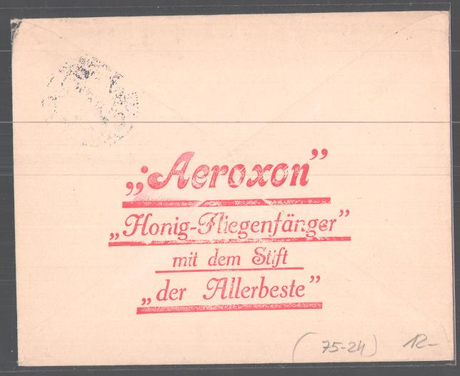Dekorativer Brief Regensburg, Aeroxon Honig Fliegenfänger Fabrik, Rudolf Hilpert, Dechbettenerstr. 16, Stubenfliege  1