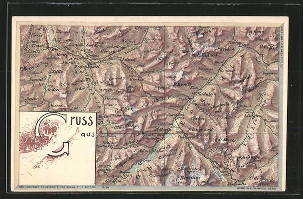 AK Tiefenkastel, Landkarte mit umliegenden Ortschaften 0
