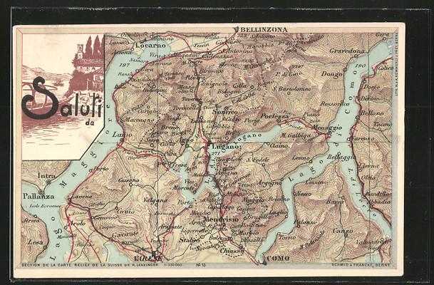 AK Lugano, Landkarte mit umliegenden Ortschaften