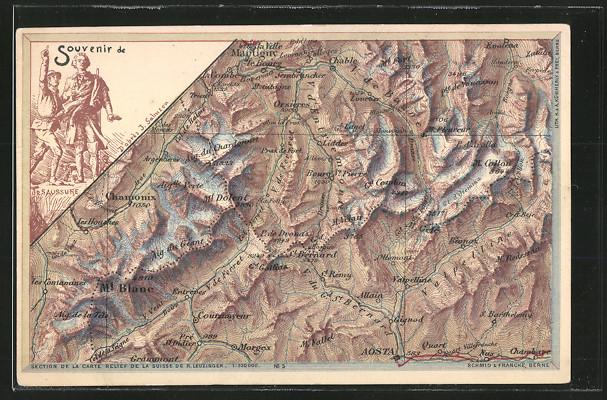 AK St. Bernard, Landkarte mit umliegenden Ortschaften