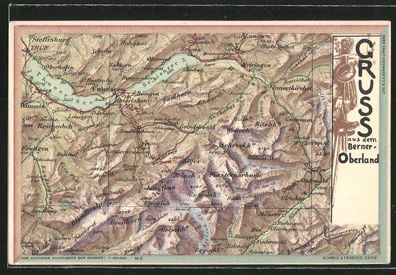 AK Grindelwald, Landkarte mit umliegenden Ortschaften