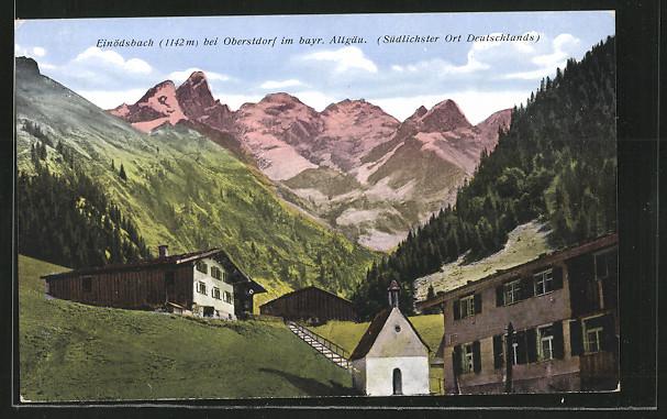 AK Einödsbach, Ortspartie mit Kapelle und Blick auf die Allgäuer Alpen 0
