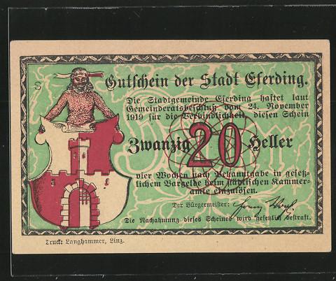 Notgeld Eferding 1920, 20 Heller, Stadtwappen, Kirche 0