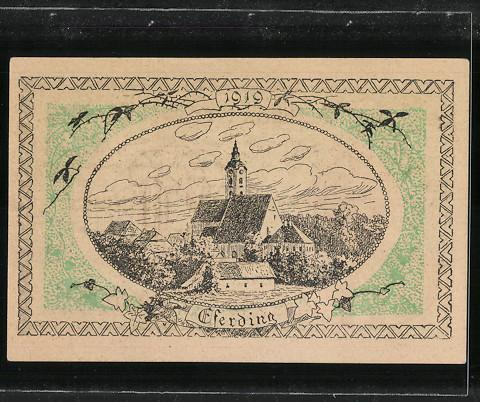 Notgeld Eferding 1920, 20 Heller, Stadtwappen, Kirche 1