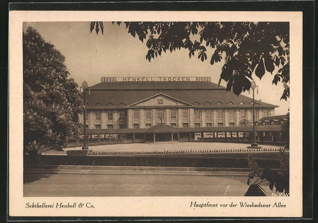 AK Wiesbaden, Sektkellerei Henkell & Co. - Hauptfront vor der Wiesbadener Allee