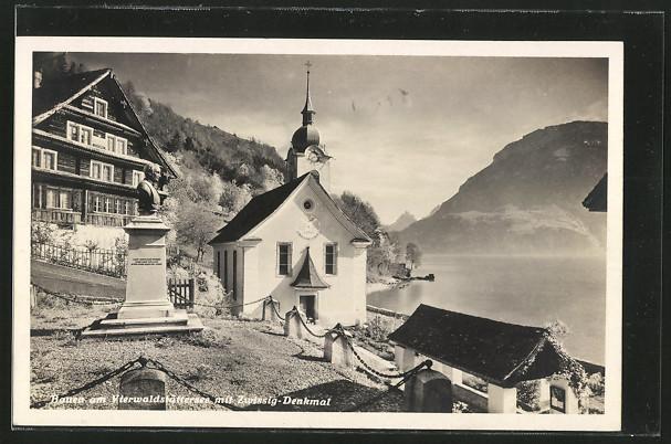 AK Bauen am Vierwaldstättersee, Kapelle mit Zwissig-Denkmal