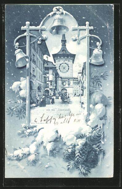 AK Bern, Zeitglockenturm, Wintermotiv mit Glocken und Tannenzapfen im Schnee
