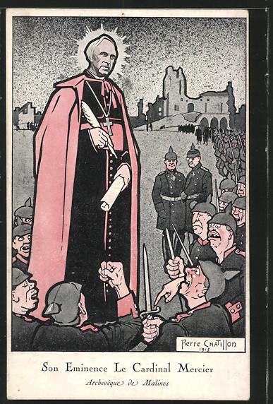 Künstler-AK Karikatur von Soldaten mit dem Kardinal von Mercier