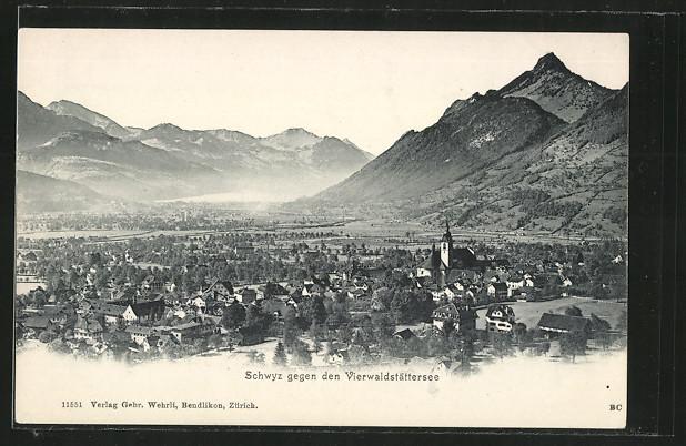 AK Schwyz, Ortsansicht gegen den Vierwaldstättersee