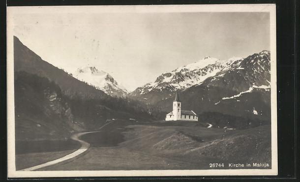 AK Maloja, Panorama mit Kirche