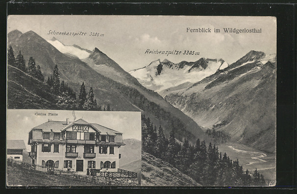 AK Wildgerlosthal, Gasthaus Gerlos Platte, Fernblick ins Tal