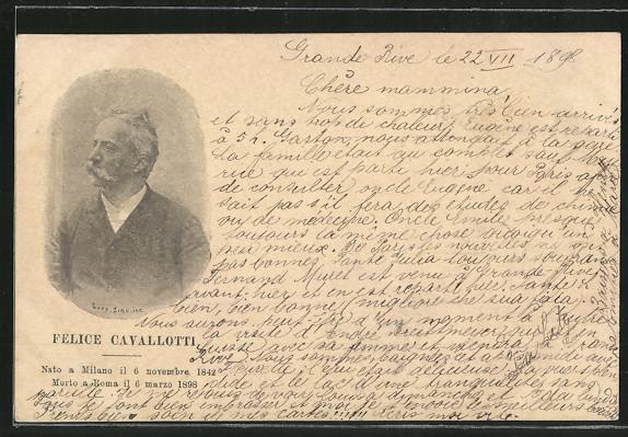 AK Porträt von Felice Cavallotti, Mitglied des italienischen Parlaments und Freiheitskämpfer