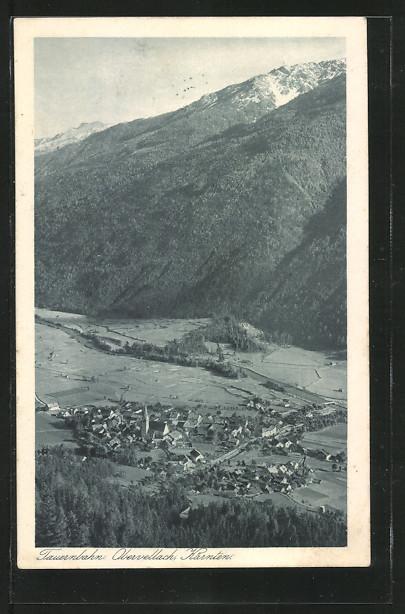 AK Obervellach a. d. Tauernbahn, Blick aus der Vogelschau auf den Ort