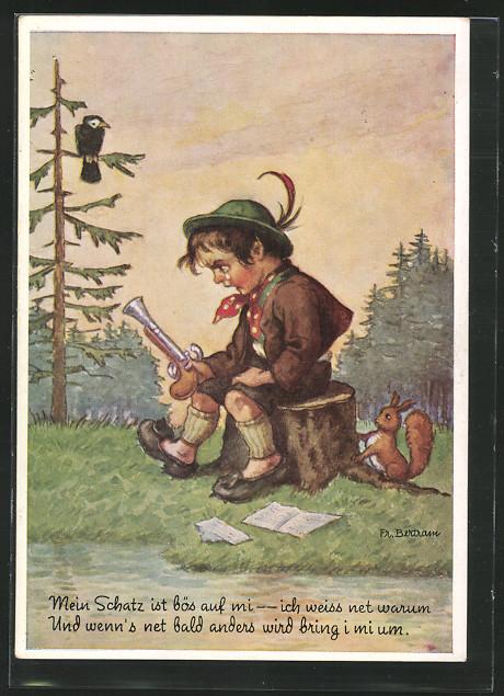 AK junge mit Pistole auf einem Baumstumpf und Eichhörnchen