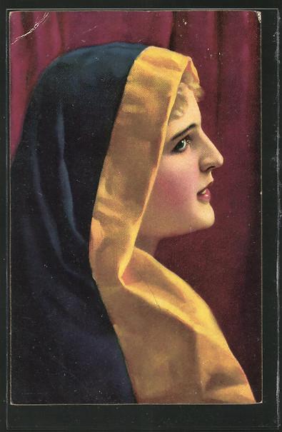 Künstler-AK Stengel & Co. Nr.29324: junge Frau in einer Robe mit Kapuze