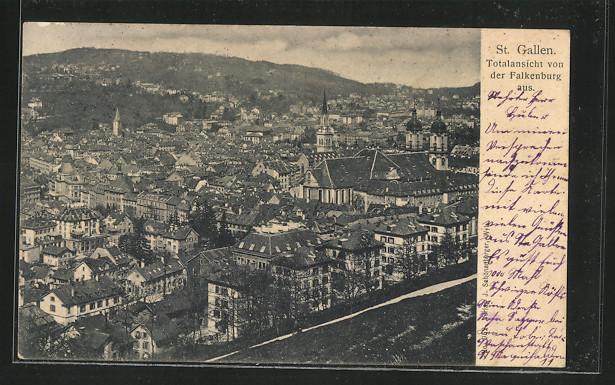 AK St. Gallen, Panorama von der Falkenburg aus