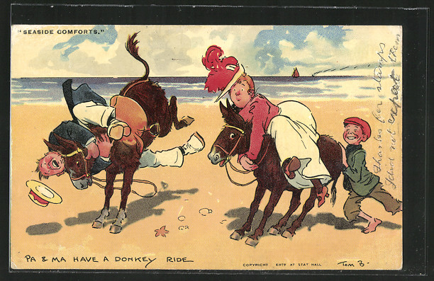 Künstler-AK Tom Browne: Junge amüsiert sich über seine Eltern auf bockenden Eseln