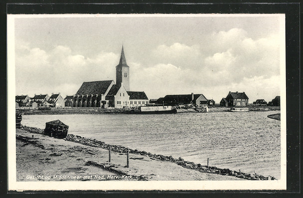 AK Middenmeer, Uferpartie mit Kirche