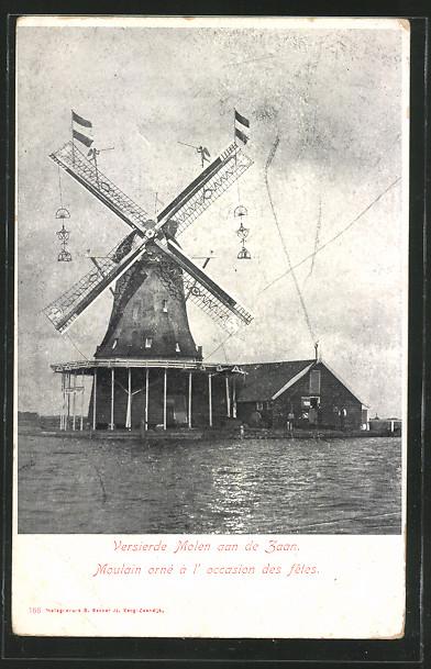 AK Zaandam, versierde Molen aan de Zaan, geschmückte Windmühle