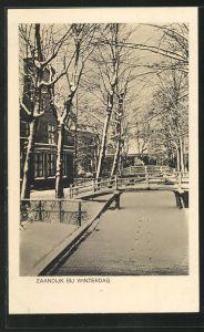 AK Zaandijk, Bij Winterdag, Ortspartie im Winter