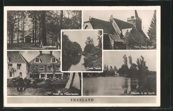 AK Vreeland, Hotel de Nederlanden, Oude Vecht, \'t Spokenhulsje