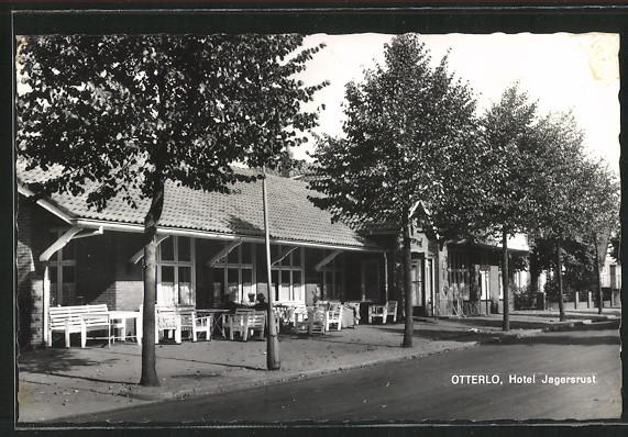 AK Otterlo, Hotel Jagersrust mit Terrasse
