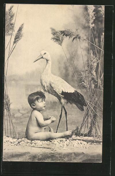 AK Der Klapperstorch steht mit einem Kind am Seeufer im Schilf