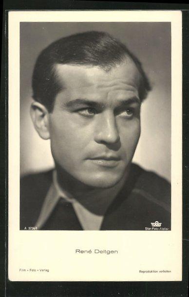 AK Schauspieler René Deltgen, in dunkler Kleidung zur Seite blickend