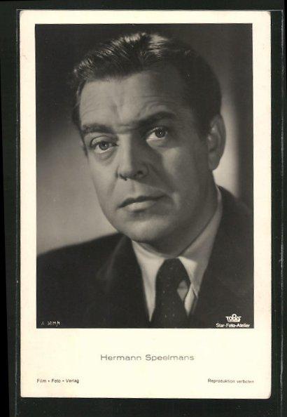 AK Schauspieler Hermann Speelmans, Porträt im Anzug mit Krawatte