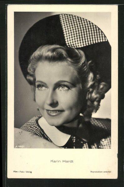 AK Schauspielerin Karin Hardt, mit Hut, lächelnd zur Seite blickend