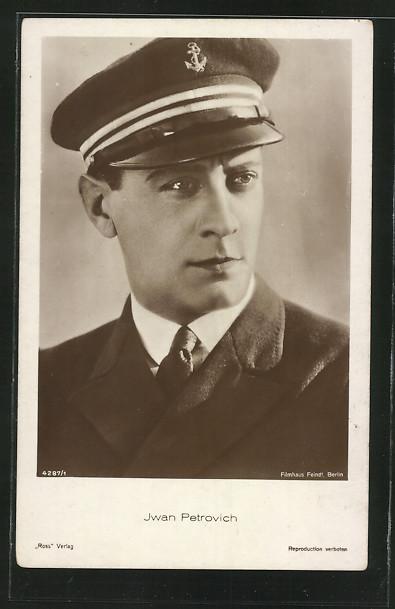 AK Schauspieler Iwan Petrovich, Porträt in Marineuniform