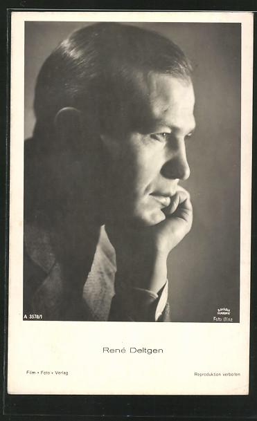 AK Schauspieler René Deltgen, im Seitenprofil, den Kopf auf die Hand gestützt