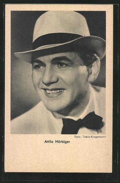 AK Schauspieler Attila Hörbiger mit Hut und Fliege