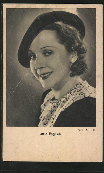 AK Schauspielerin Lucie Englisch mit Hut