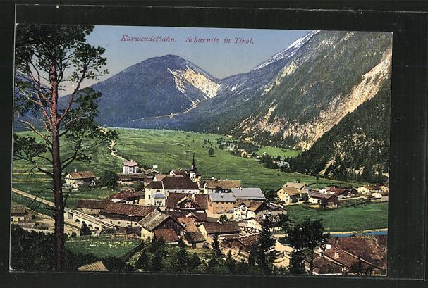 AK Scharnitz, Ortsansicht, Karwendelbahn